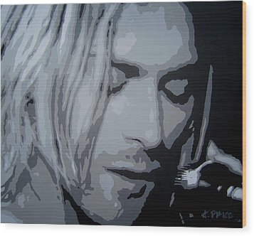Wood Print featuring the painting Kurt Cobain by Ashley Price