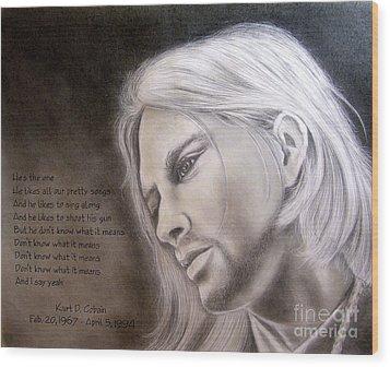 Kurt Cobain Wood Print by Oscar Arauz