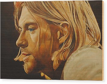 Wood Print featuring the painting Kurt Cobain Unplugged by David Dunne