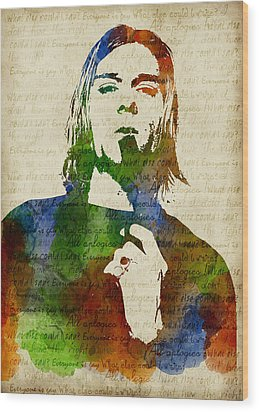 Kurt Cobain Watercolor Wood Print by Mihaela Pater