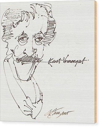 Kurt Vonnegut Wood Print by Donna Frizano Leonetti