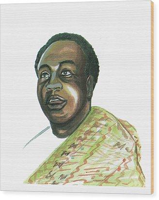 Kwame Nkrumah Wood Print by Emmanuel Baliyanga