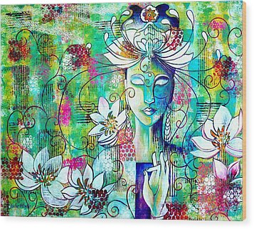 Wood Print featuring the painting Kwan Yin by Julie Hoyle