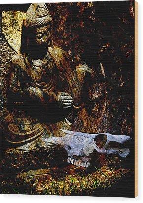 Kwan Yin Meditates Wood Print by Ann Tracy