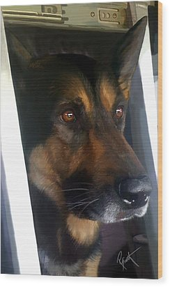 Wood Print featuring the painting Kwi - Police K-9 by Robert Smith