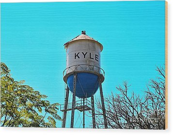 Kyle Texas Water Tower Wood Print by Ray Shrewsberry