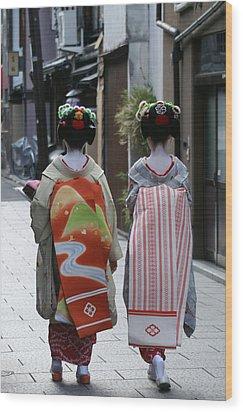 Kyoto Geishas Wood Print by Jessica Rose