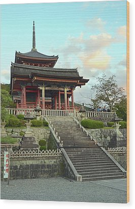Wood Print featuring the photograph Kyoto Temple by Corinne Rhode