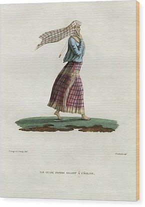 L Ile Guam Femme Allant A  L Eglise Wood Print by Jacques Arago