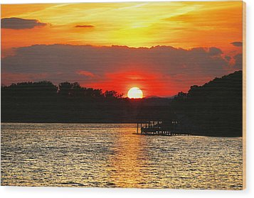Bloody Red Sunset Smith Mountain Lake Wood Print by The American Shutterbug Society