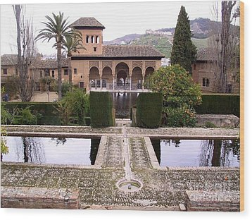La Alhambra Garden Wood Print by Thomas Marchessault