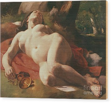 La Bacchante Wood Print by Gustave Courbet