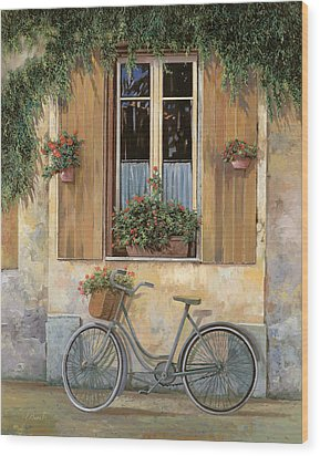 La Bici Wood Print by Guido Borelli