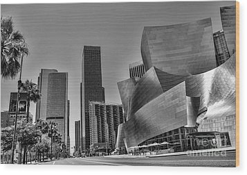 La Black N White Wood Print by Chuck Kuhn