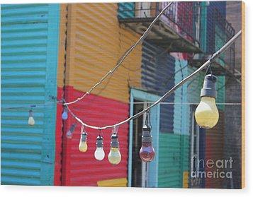 Wood Print featuring the photograph La Boca Lightbulbs by Wilko Van de Kamp