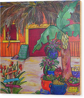 La Cantina Wood Print by Patti Schermerhorn
