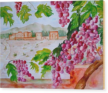 Wood Print featuring the painting La Casa Del Vino by Sharon Mick