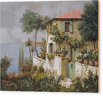 La Casa Giallo-verde Wood Print by Guido Borelli