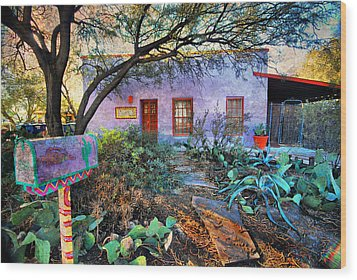 Wood Print featuring the photograph La Casa Lila by Barbara Manis