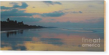 la Casita Playa Hermosa Puntarenas - Sunrise One - Painted Beach Costa Rica Panorama Wood Print