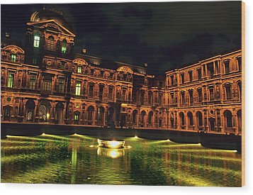 La Cour Carree And The Building Of The Louvre Illuminated At Night Wood Print by Sami Sarkis