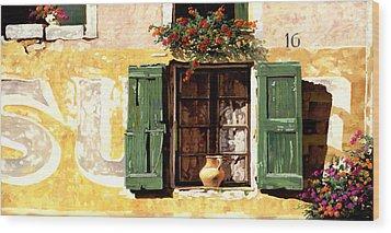 la finestra di Sue Wood Print by Guido Borelli