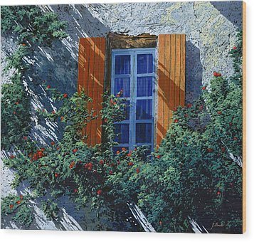 La Finestra E Le Ombre Wood Print by Guido Borelli