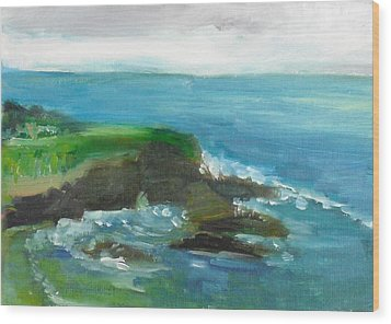 Wood Print featuring the painting La Jolla Cove 026 by Jeremy McKay