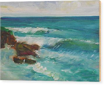 Wood Print featuring the painting La Jolla Cove 027 by Jeremy McKay