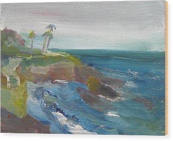 Wood Print featuring the painting La Jolla Cove 028 by Jeremy McKay