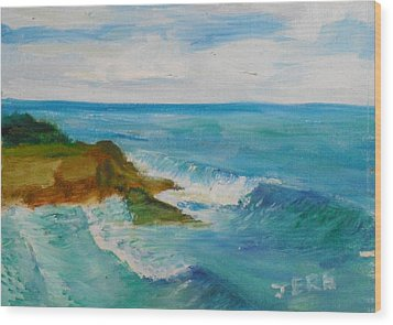 Wood Print featuring the painting La Jolla Cove 029 by Jeremy McKay