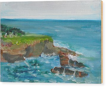 Wood Print featuring the painting La Jolla Cove 030 by Jeremy McKay