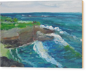Wood Print featuring the painting La Jolla Cove 031 by Jeremy McKay