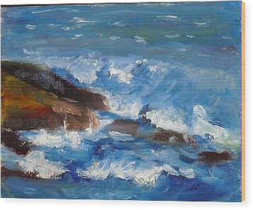 Wood Print featuring the painting La Jolla Cove 035 by Jeremy McKay