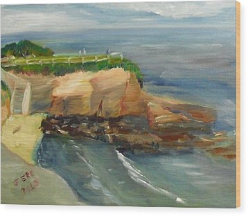 Wood Print featuring the painting La Jolla Cove Stairway Number 1 by Jeremy McKay