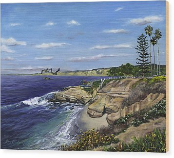 La Jolla Cove West Wood Print by Lisa Reinhardt