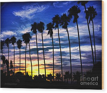 La Jolla Silhouette - Digital Painting Wood Print by Sharon Soberon