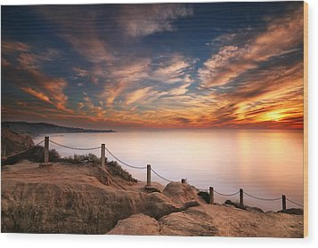 La Jolla Sunset Wood Print by Larry Marshall
