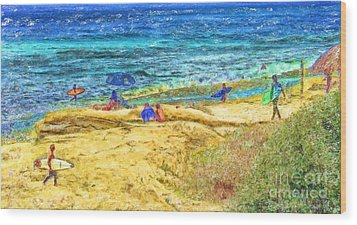 La Jolla Surfing Wood Print by Marilyn Sholin