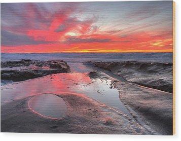Wood Print featuring the photograph La Jolla Tidepools At Sunset by Nathan Rupert