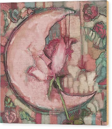 Wood Print featuring the painting La Luna Rosa by Carrie Joy Byrnes