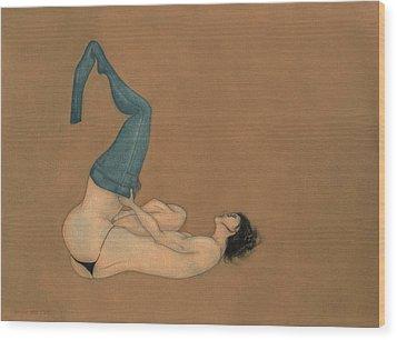 La Lutte Wood Print by Antonio Ortiz