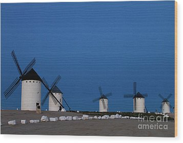 Wood Print featuring the photograph La Mancha Windmills by Heiko Koehrer-Wagner