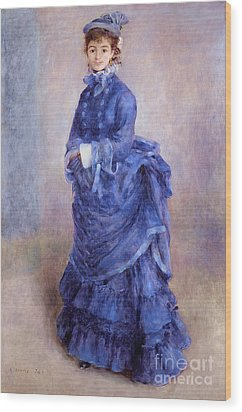 La Parisienne The Blue Lady  Wood Print by Pierre Auguste Renoir