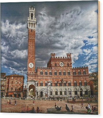 Wood Print featuring the photograph La Piazza by Hanny Heim