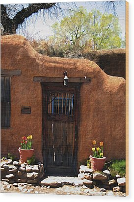 La Puerta Marron Vieja - The Old Brown Door Wood Print by Kurt Van Wagner