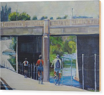 La River Bikepath Wood Print by Richard  Willson