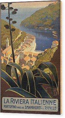 La Riviera Italienne Vintage Travel Poster Restored Wood Print