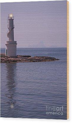 La Sabina Lighthouse Formentera And The Island Of Es Vedra Wood Print by John Edwards