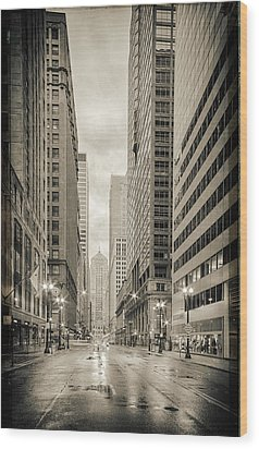 Lasalle Street Canyon With Chicago Board Of Trade Building At The South Side - Chicago Illinois Wood Print by Silvio Ligutti